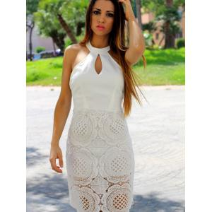 Elegant Halter Sleeveless Hollow Out Solid Color Women's Dress -