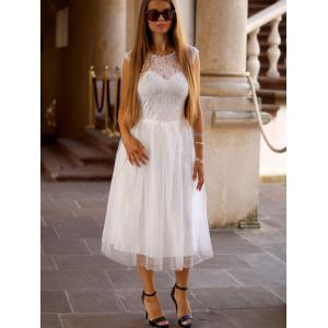 Fashion Round Neck Short Sleeve Lace Splicing A-Line Dress For Women -