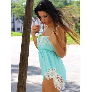 Casual Low-Cut Hollow Out Lace Spliced Hem Elastic Waist Romper For Women -