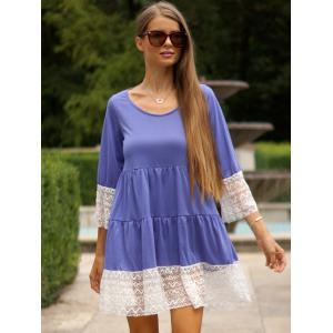 Leisure U-Neck 3/4 Sleeve Lace Splicing Loose-Fitting Women's Dress -