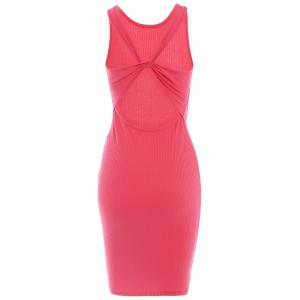 Elegant Round Neck Sleeveless Solid Color Open Back Slimming Dress For Women -