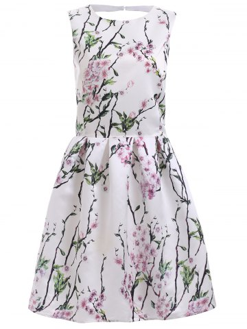 Trendy Vintage Floral Print Back Cut Out A Line Dress WHITE 2XL