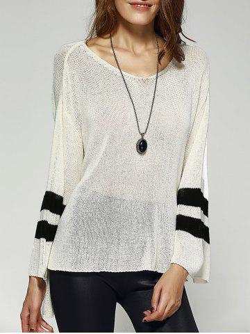 Chic Chic Scoop Neck Loose Striped Sleeve High Low Knitwear For Women WHITE ONE SIZE