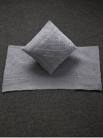 Buy Home Decor Warm Comfortable Rhombus Knitted Pillow Case and Blanket