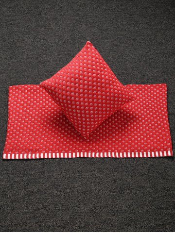 Fashion Home Decor Warm Comfortable Christmas Red Mesh Knitted Pillow Case and Blanket