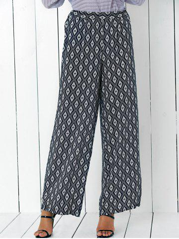 High Waisted Argyle Patterned Palazzo Pants - White And Black - S