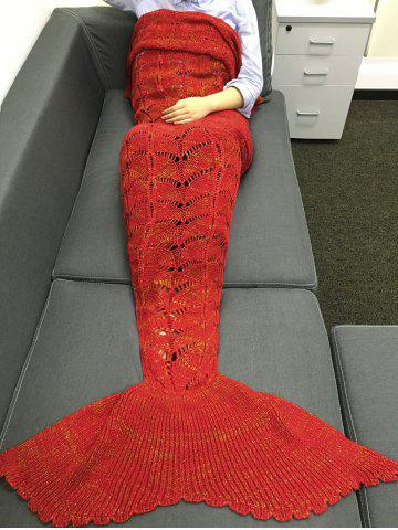 Best Chic Quality Knitting Hollow Out Design Mermaid Shape Blanket RED