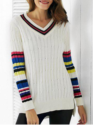 Online Trendy V-Neck Color Block Ribbed Women's Sweater