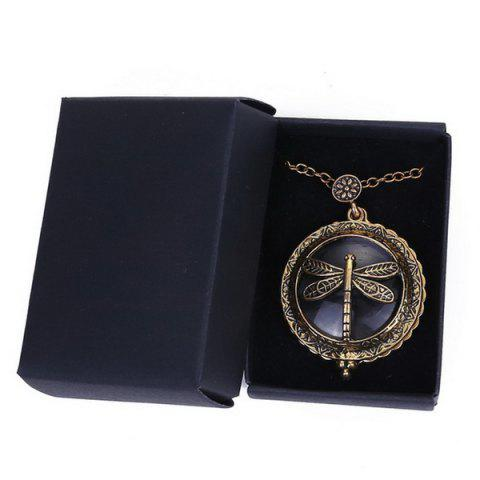 Fashion Retro Copper Plated Carved Dragonfly Magnifying Galss Sweater Chain For Women - COPPER COLOR  Mobile