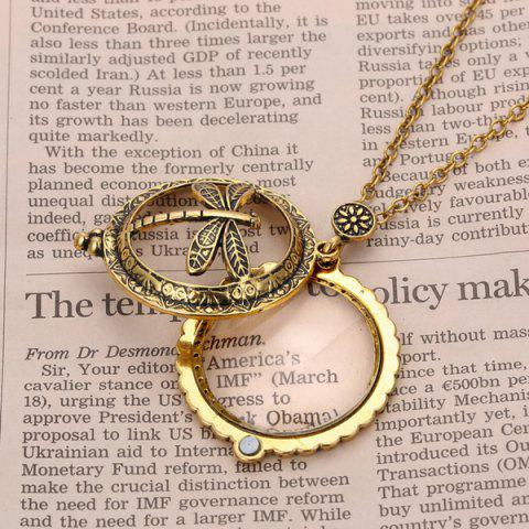 Discount Retro Copper Plated Carved Dragonfly Magnifying Galss Sweater Chain For Women - COPPER COLOR  Mobile
