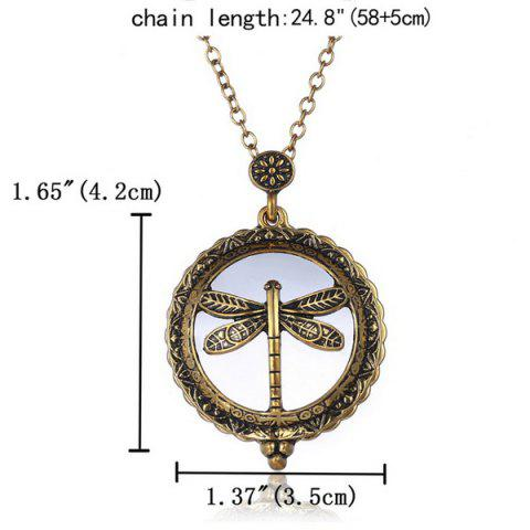 Store Retro Copper Plated Carved Dragonfly Magnifying Galss Sweater Chain For Women - COPPER COLOR  Mobile