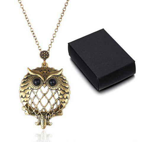 Fashion Owl Box Magnifying Glass Sweater Chain - COPPER COLOR  Mobile
