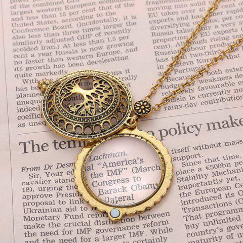 Fancy Cut Out Life Tree Magnifying Glass Sweater Chain - COPPER COLOR  Mobile
