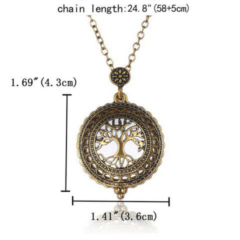 Online Cut Out Life Tree Magnifying Glass Sweater Chain - COPPER COLOR  Mobile