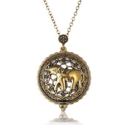 Fashion Elephant Filigree Round Magnifying Glass Sweater Chain COPPER COLOR