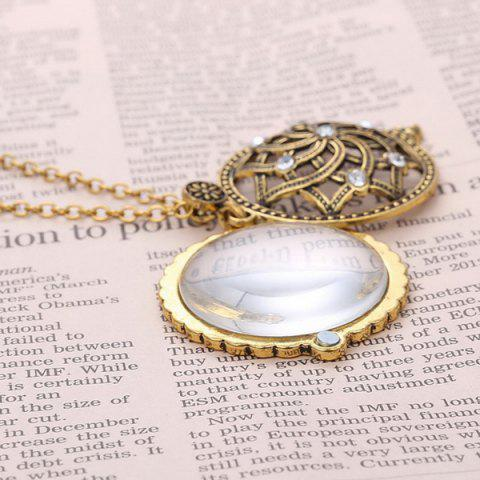 Online Retro Rhinestone Floral Magnifying Glass Sweater Chain - COPPER COLOR  Mobile