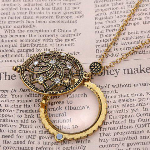 Outfit Retro Rhinestone Floral Magnifying Glass Sweater Chain - COPPER COLOR  Mobile