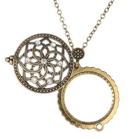 Fancy Retro Rhinestone Floral Magnifying Glass Sweater Chain - COPPER COLOR  Mobile