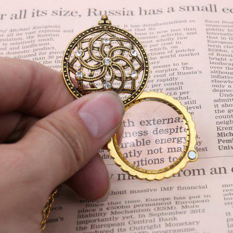 Buy Retro Rhinestone Floral Magnifying Glass Sweater Chain - COPPER COLOR  Mobile