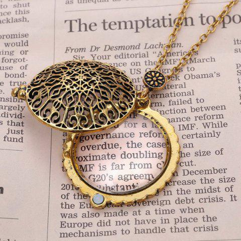 Online Round Filigree Magnifying Glass Sweater Chain - COPPER COLOR  Mobile