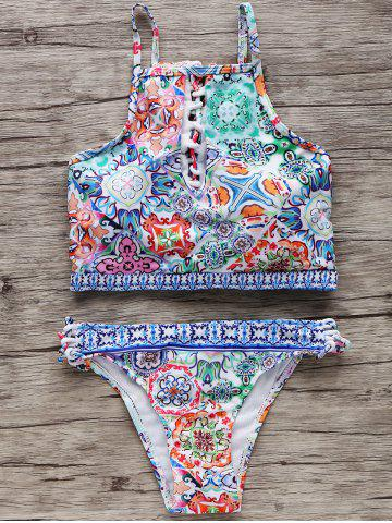 New Printed Keyhole Cutout Padded Crop Top Bikini - S COLORMIX Mobile