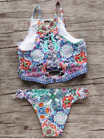 Store Printed Keyhole Cutout Padded Crop Top Bikini - S COLORMIX Mobile