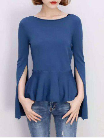 Hot Furcal Bell Sleeve Pure Color Blouse