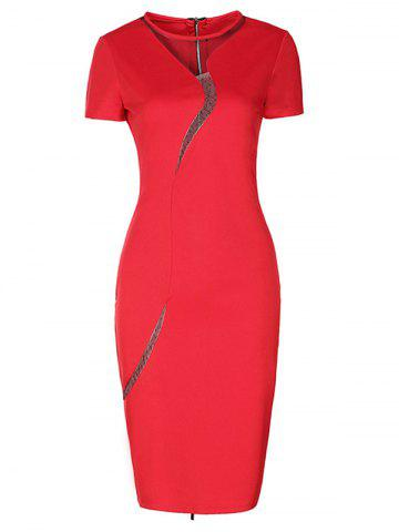 Alluring Back Zipped Mesh Patchwork Dress For Women - Red - S