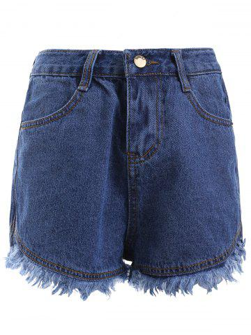Fancy Simple Blue Pocket Fringe Denim Shorts