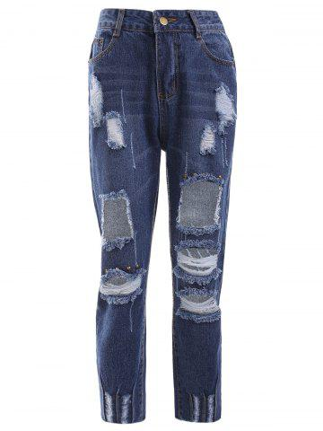 Online Trendy Bleach Wash Distressed Ripped Skinny Jeans
