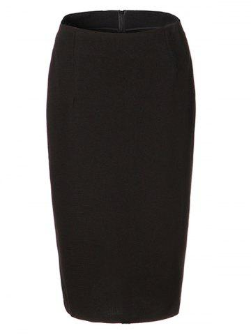 Discount OL High Waist Pure Color Bodycon Skirt For Women