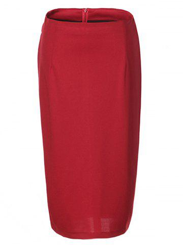 Hot OL High Waist Pure Color Bodycon Skirt For Women RED L