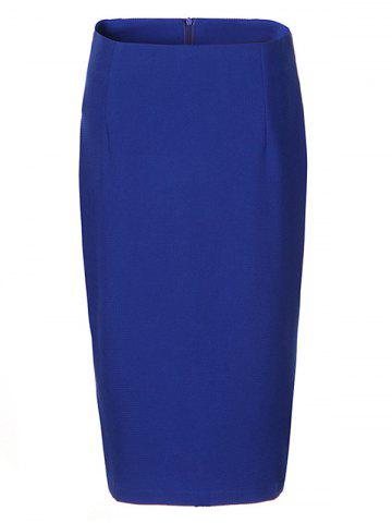 Sale OL High Waist Pure Color Bodycon Skirt For Women