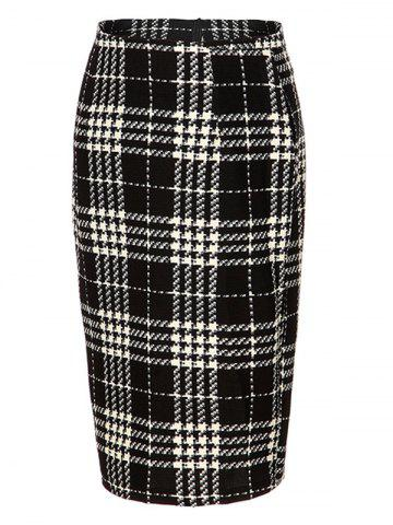 New High Waist Plaid Midi Pencil Skirt BLACK 2XL
