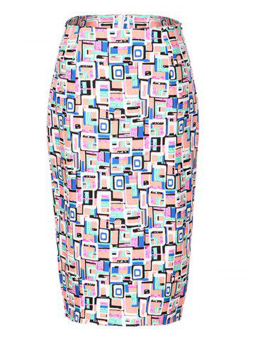 Store OL High Waist Hit Color Bodycon Skirt For Women COLORMIX 2XL