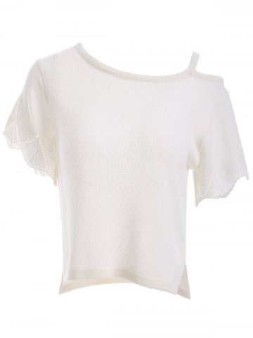 Online Fashion One Shoulder Scalloped Sleeve Knitted T-Shirt