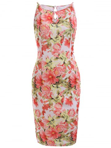 Affordable Vintage Floral Print Bodycon Dress
