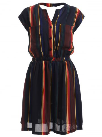 Trendy Hollow Out Striped Button Design Dress