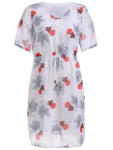 Store Refreshing Floral Pattern Strappy Dress