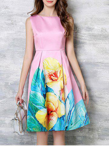 Trendy Charming Blossom Bright Color Dress PINK 3XL