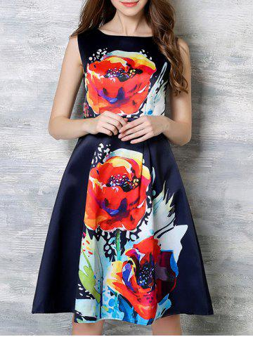 Store Fashionable Zippered Floral Print Dress