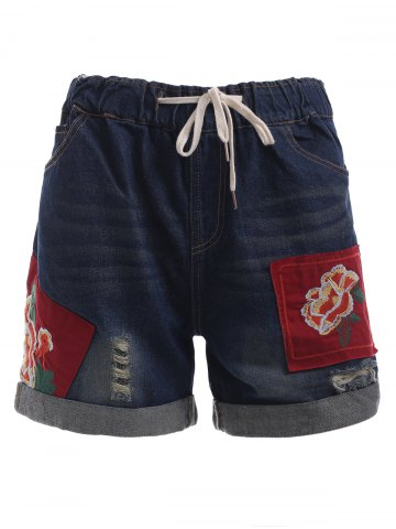 Outfits Drawstring Applique Embroidery Shorts