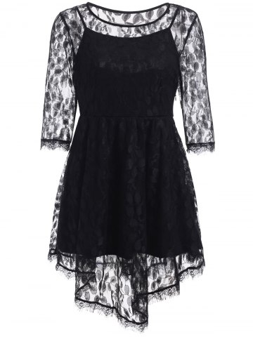 Outfit See-Through Asymmetric Half Sleeve Lace Short Dress