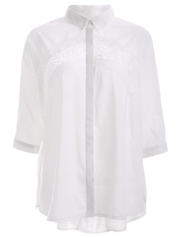 Store Elegant Lace Trim High Low Hem Chiffon Shirt