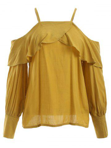 New Cute Spaghetti Strap Ruffle Pure Color Blouse