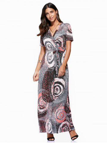New Vintage V-Neck  Circle Printed Plus Size Dress For Women