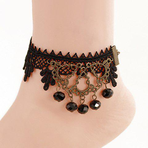 Chic Handmade Lace Crochet Faux Crystal Anklet - BLACK  Mobile