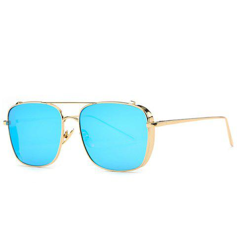 Best Stylish Metal Frame Rectangle Mirrored Sunglasses For Women BLUE