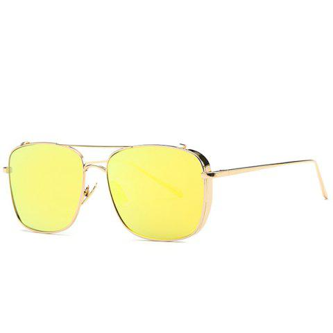 Shops Stylish Metal Frame Rectangle Mirrored Sunglasses For Women YELLOW