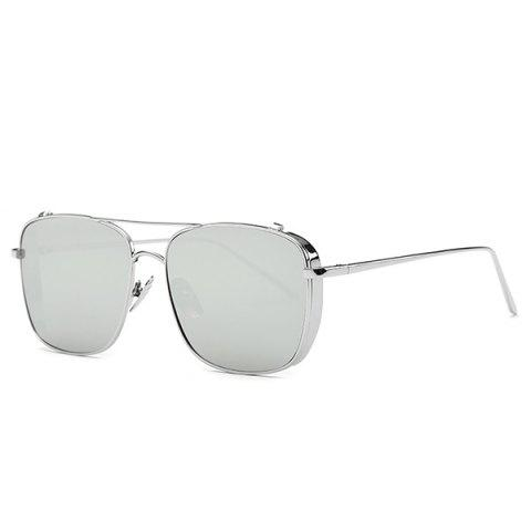 Stylish Metal Frame Rectangle Mirrored Sunglasses For Women - Silver